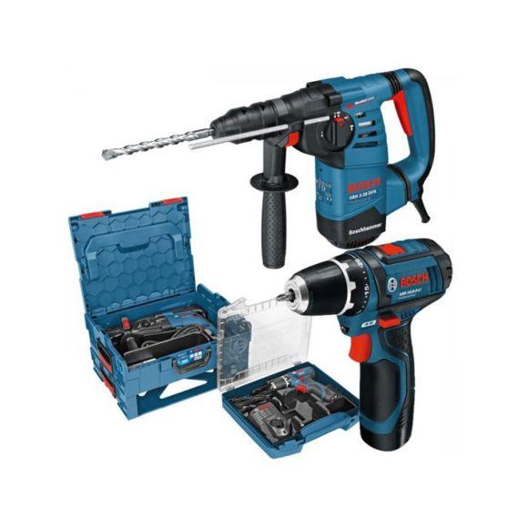 Perforateur-Burineur Bosch SDS-Plus GBH 3-28 DFR + Perceuse GSR 12V-15 + Coffret L-Boxx 0615990H1E