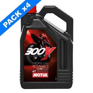 Pack de 4 bidons d'huile Motul 300V (10W40) - 4L