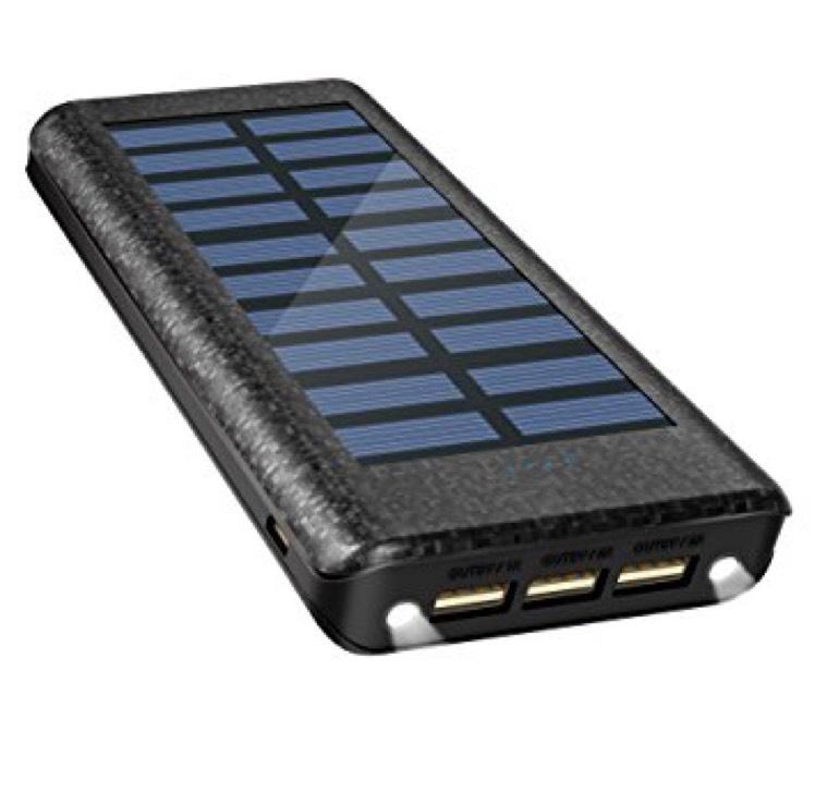 Batterie externe OLEBR Power Bank 24000 mAh - Solaire, 2 Indicateurs LED, 3 ports USB, (Vendeur tiers)