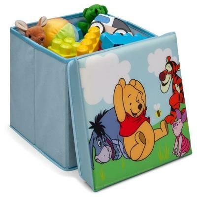 pouf de rangement coffre jouets enfant pliable winnie l 39 ourson mickey ou cars. Black Bedroom Furniture Sets. Home Design Ideas