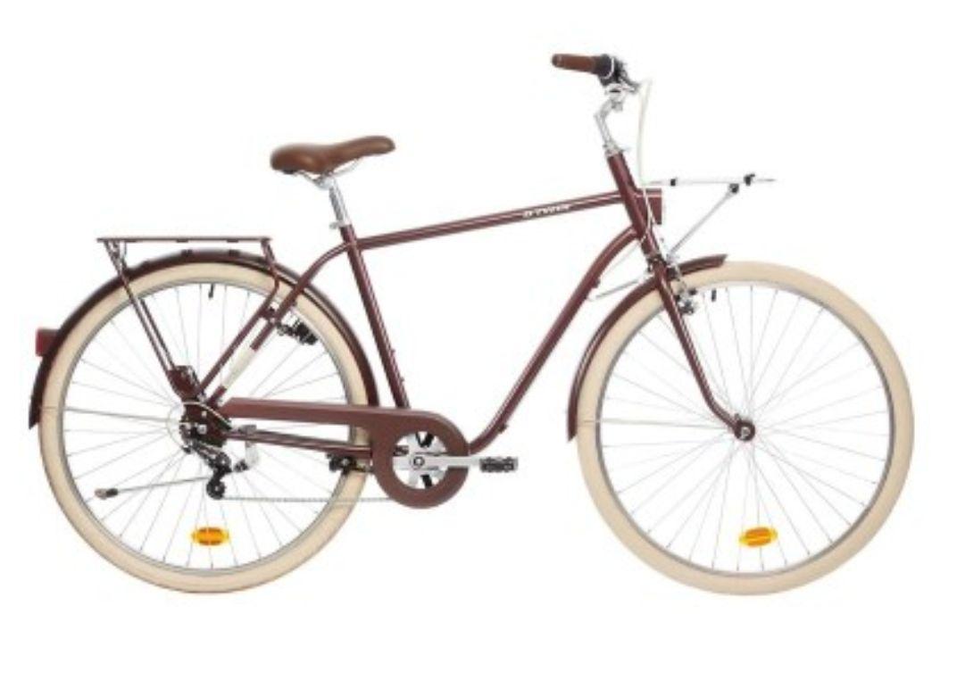 Vélo de ville B'Twin Elops 520 Cadre Haut Bordeaux
