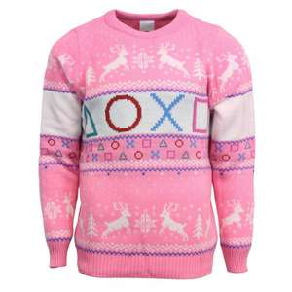 Pull de Noël unisexe PlayStation rose (Taille XS ou L)