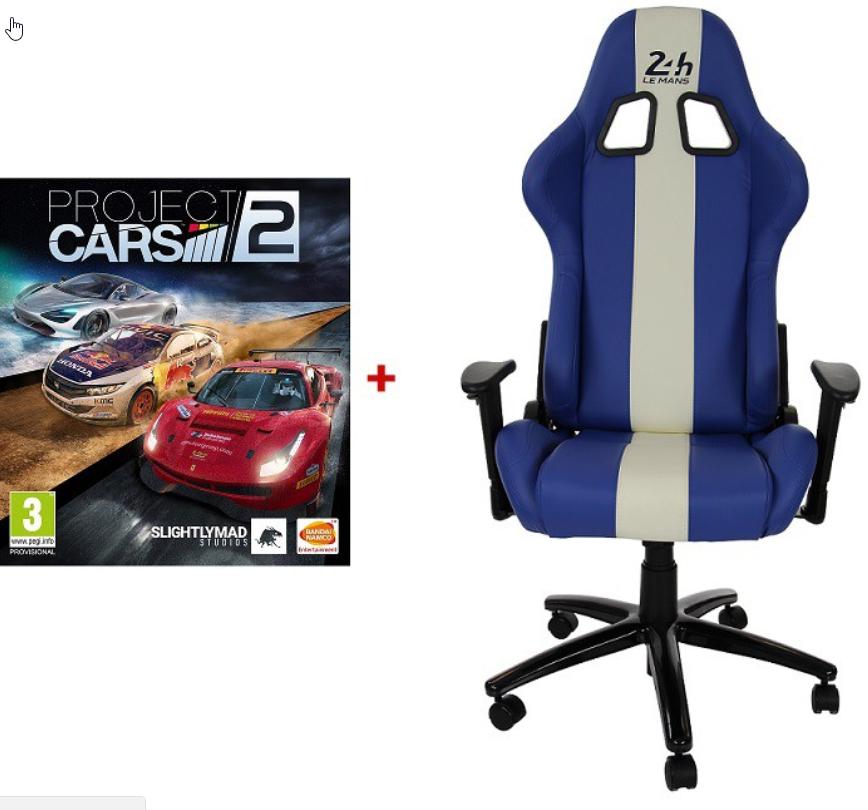 Fauteuil de bureau 24h du mans + Jeu Project Cars 2 (sur Xbox One ou PS4)