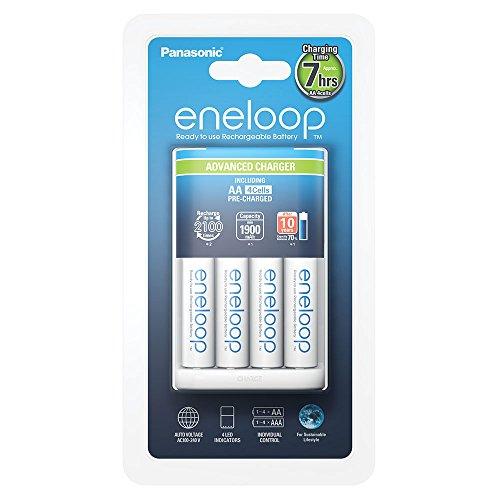 Chargeur Panasonic BQ-CC17 + Lot de 4 piles AA rechargeables Eneloop 1900 mAh