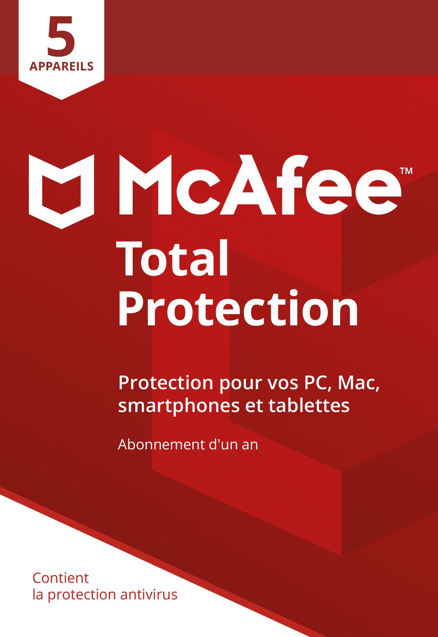 Logiciel McAfee Total Protection 2018 pour 5 Appareils (Téléchargement)