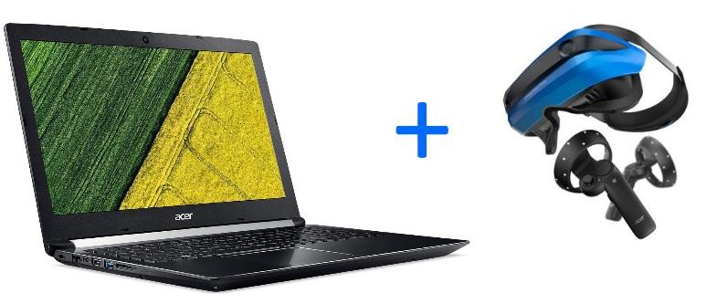 """PC Portable 15,6"""" Acer Aspire 7 A715-71G-57JW - FullHD IPS, i5-7300HQ, 1To de HDD, 8Go de RAM, GTX1050 2 Go  + Casque de Réalité Mixte Acer AH101 (via ODR de 250€)"""