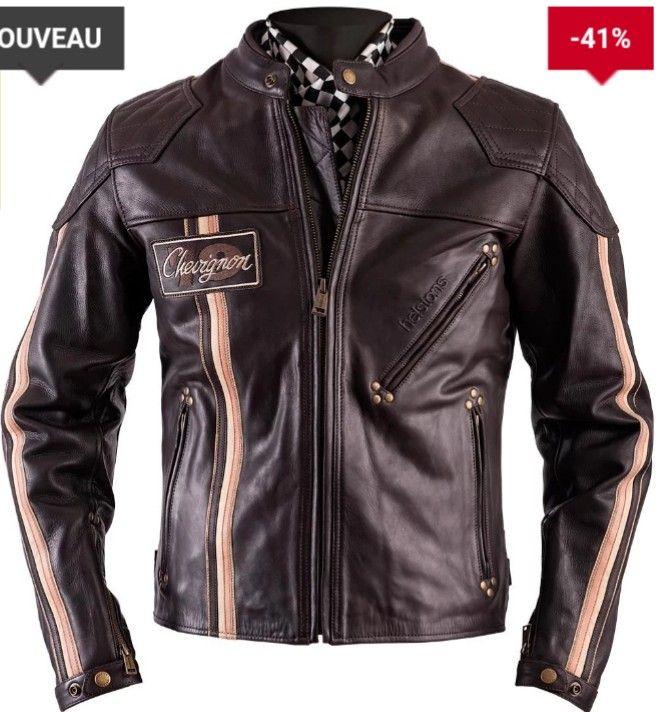 Veste de moto étanche en cuir Helstons Chevignon