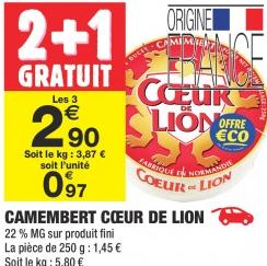 6 Camembert Coeur de Lion Gratuit - 6x250g (via BDR 3€ Application)