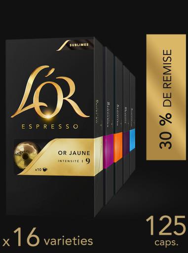 Assortiment de 125 capsules L'Or + 2 tasses offertes à partir de 40€ d'achat