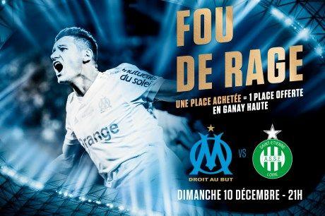 Match de Footbal OM vs Saint-Etienne Dimanche 10 Décembre : 1 place achetée en Ganay haute = 1 place offerte