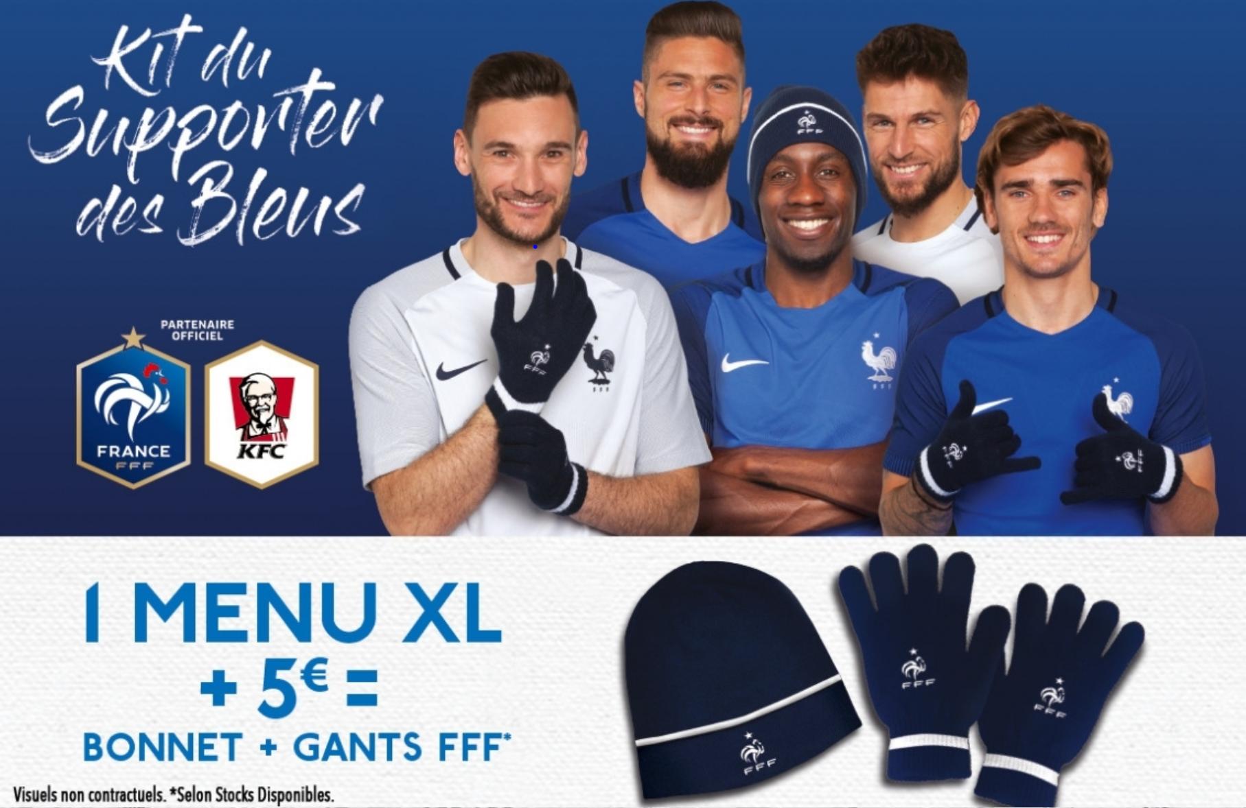 1 menu XL acheté + 5€ = Gants + Bonnets FFF offerts