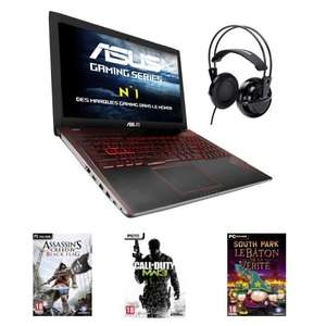 "PC portable 15.6"" Asus FX552VE-DM380T - FHD - RAM 6Go - Core i5-7300HQ - GTX 1050Ti - Stockage 1 To + 128 SSD - WIndows 10 + Casque + Assassin's Creed 4 Black Flag + Call of Duty Modern Warfare 3 + South Park Le Bâton de la Vérité"