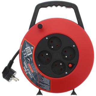Enrouleur électrique - 7.5m, 4 prises, section 1.5mm²