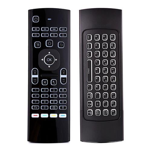 Télécommande rétroéclairée MX3-L-M - Clavier QWERTY, Souris gyroscopique, Reconnaissance vocale (2.4 GHz)