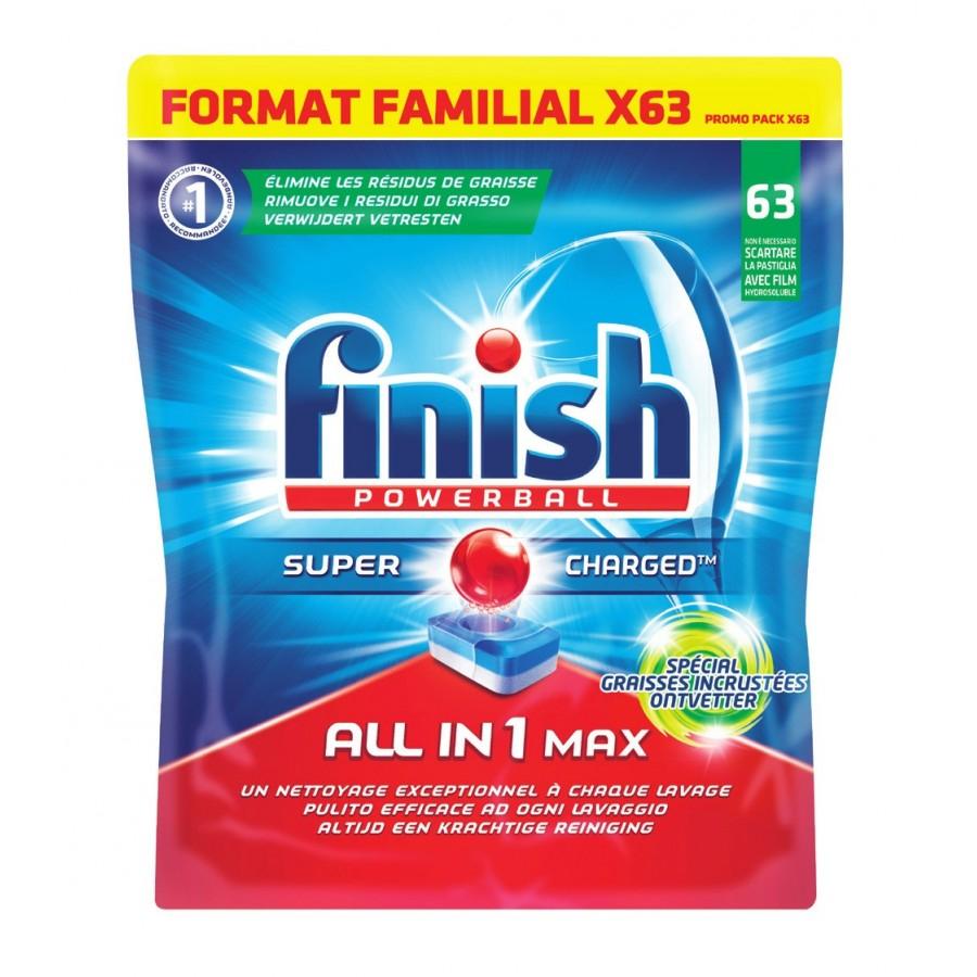 63 Tablettes pour lave-vaisselle Finish Powerball tout en 1
