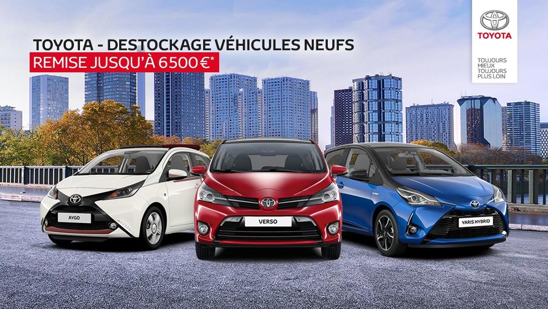 2500€ de remise pour l'achat d'une voiture Toyota Aygo Neuve, 3500€ pour l'achat d'une Yaris et 6500€ pour l'achat d'un Verso - Toyota Gueudet