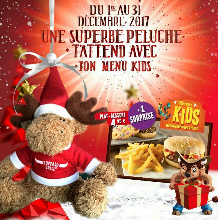 1 Peluche offerte pour l'achat d'un menu kids chez Buffalo-Grill