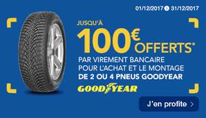 Jusqu'à 100€ remboursés pour l'achat de 2 à 4 Pneus de la marque Goodyear