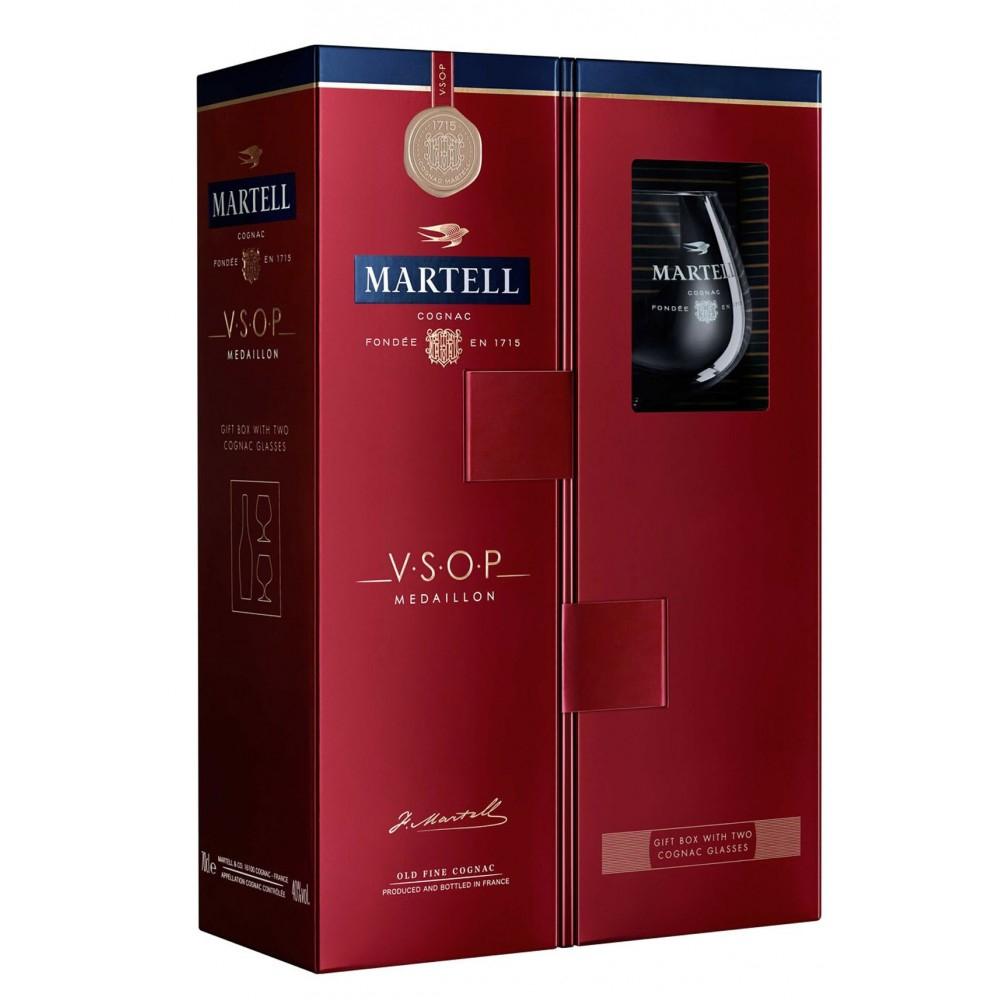 Coffret Cognac Martell V.S.O.P. Médaillon 70cl avec 2 verres (via 10€ en bon d'achat)
