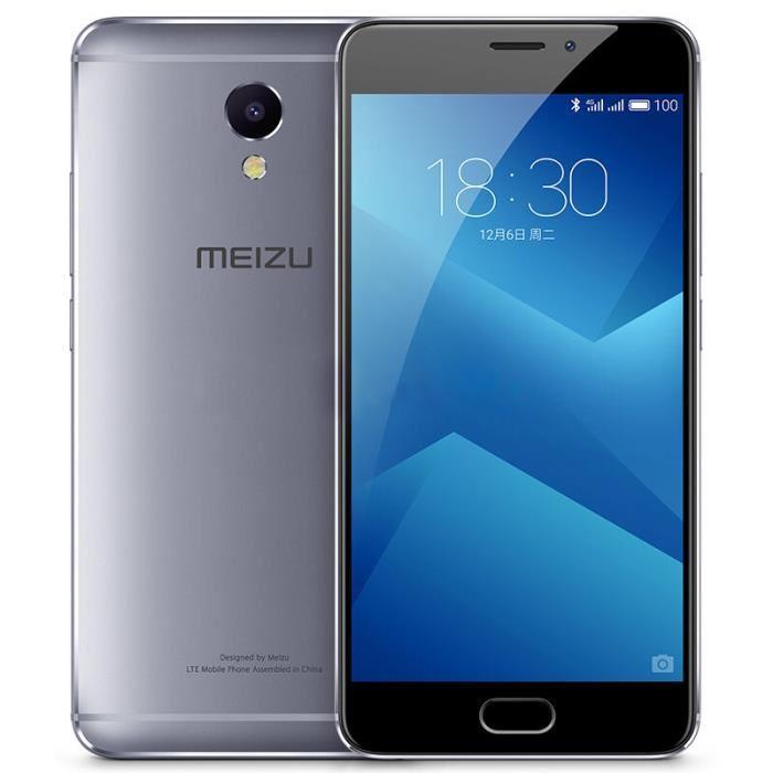 """Smartphone 5.2"""" Meizu Note M5 - 16 Go, 3 Go RAM, gris (via ODR de 30€)"""