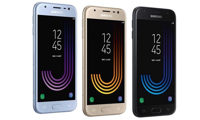 """Smartphone 5"""" Samsung Galaxy J3 2017 (2 Go de RAM, 16 Go, différents coloris) + bracelet connecté Samsung Charm"""