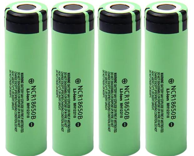 Lot de 4 accus lithium-ion Panasonic NCR18650B 18650 - 3400mAh, 3.7V