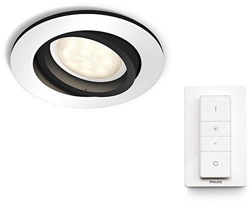 Philips Hue spot encastrable Milliskin (blanc ou chromé) + télécommande switch dimmer