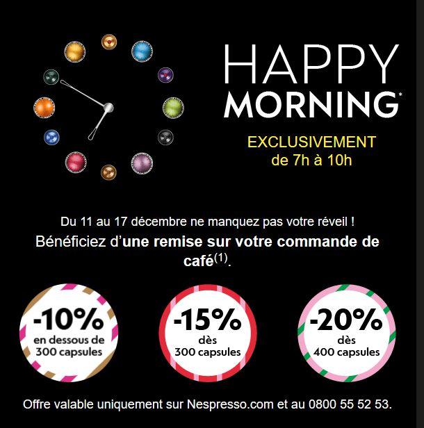 [Membres Club] De 7h à 10h : 10% de réduction sans minimum d'achat, -15% dès 300 capsules, -20% dès 400 capsules