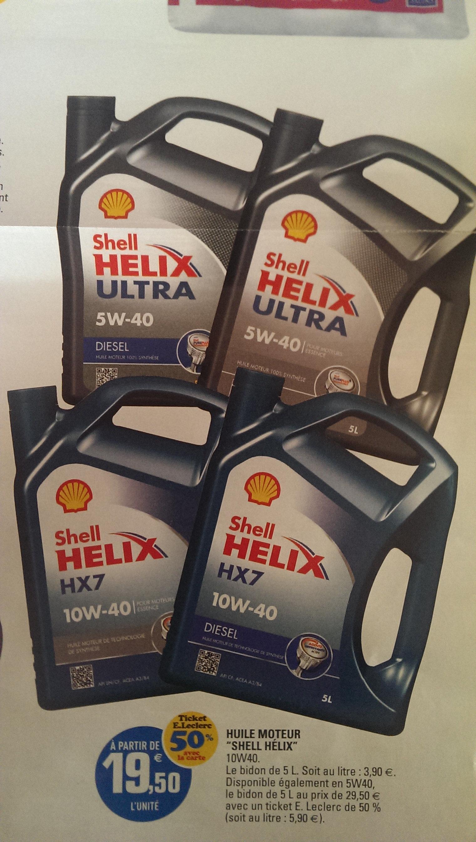 Bidon Huile moteur Shell Helix 5L (50% sur la carte)