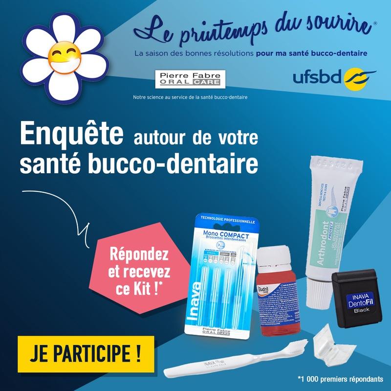 Kit d'hygiène bucco-dentaire offert (sous condition de remplir une enquête)