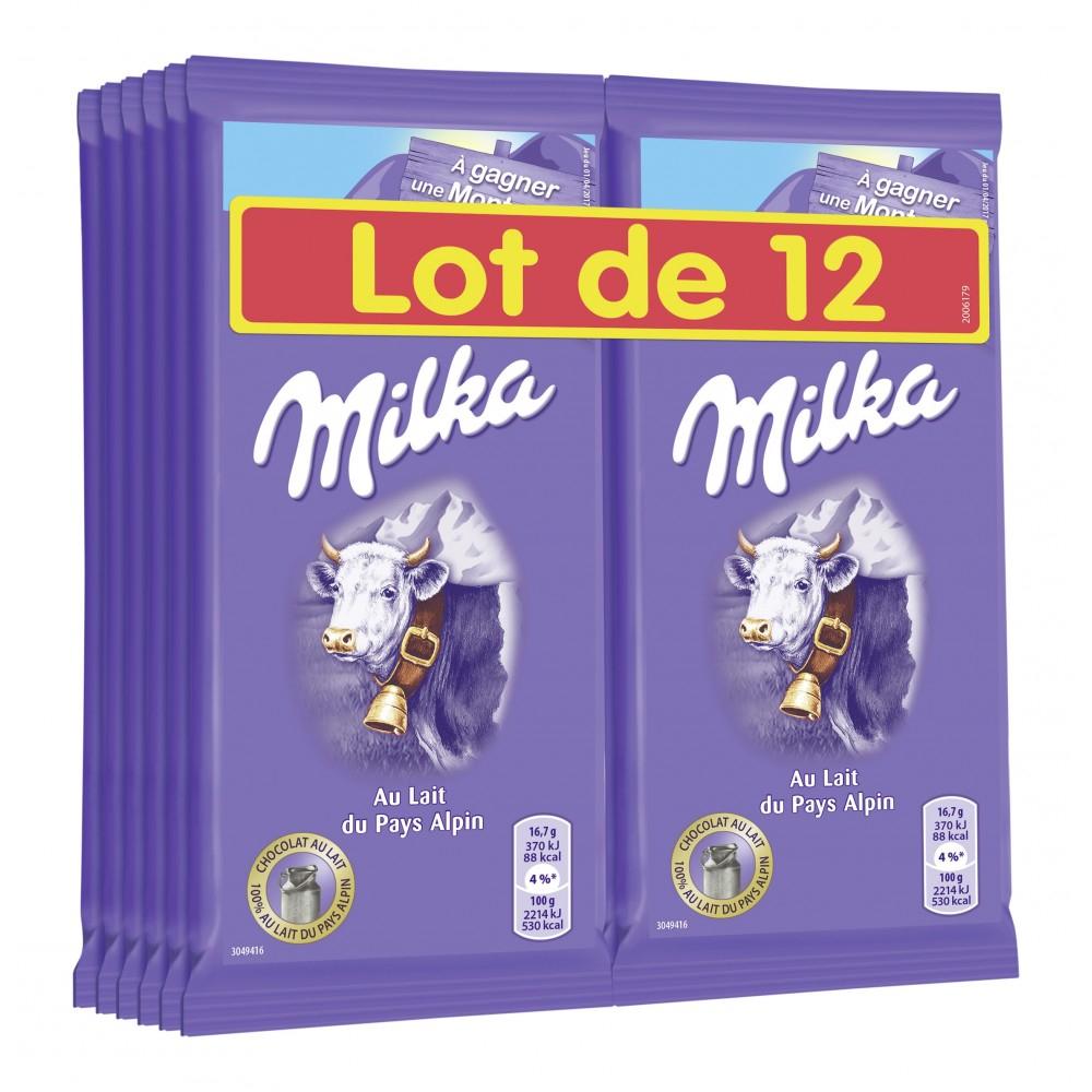 Lot de 12 tablettes de chocolat Milka - 12x100g