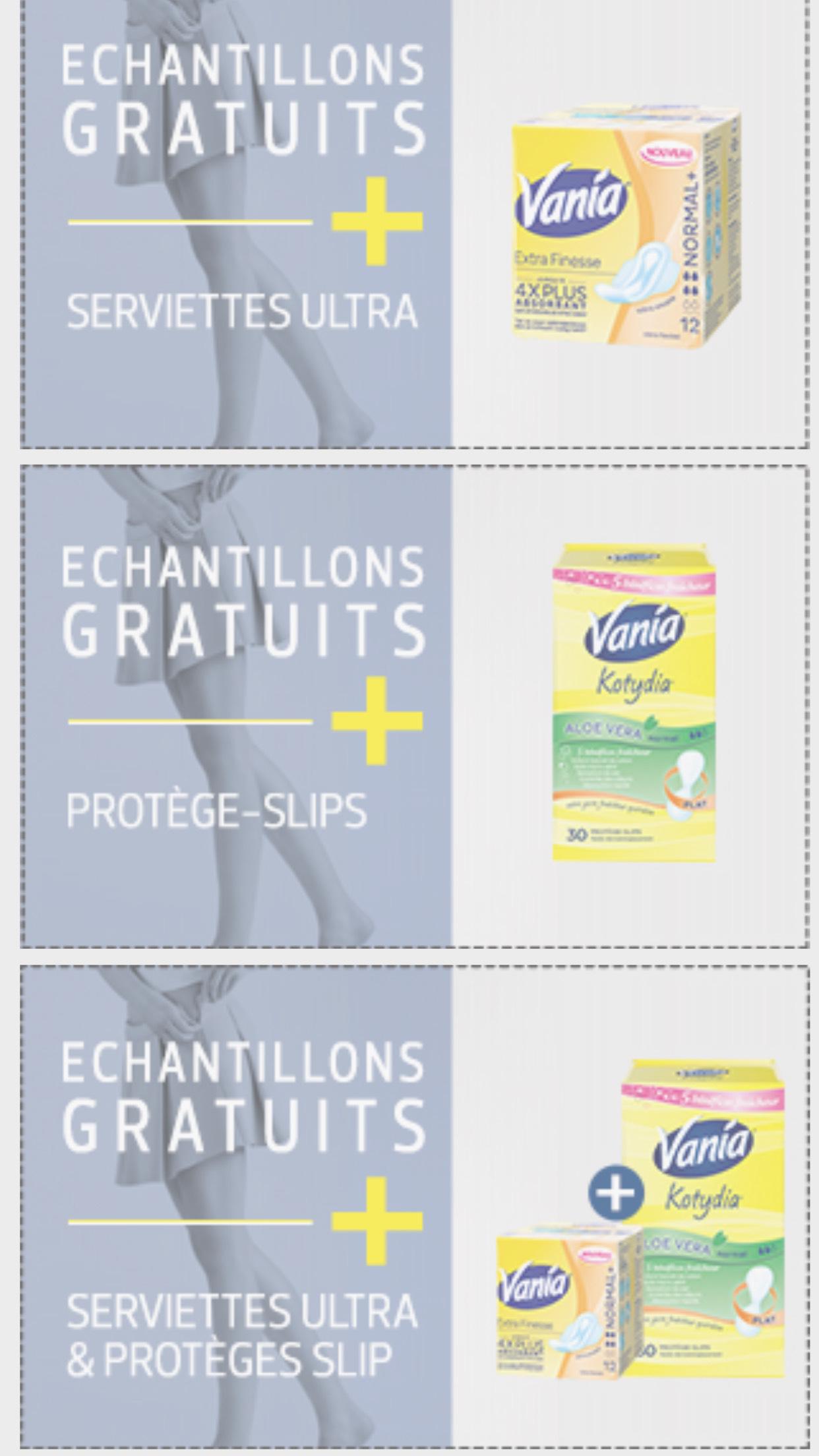 Échantillons gratuits serviettes et protèges slip Vania