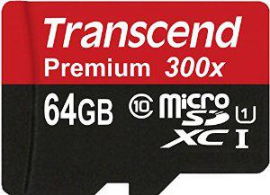 Carte micro SDXC Transcend Premium Classe 10 64Go avec adaptateur SD