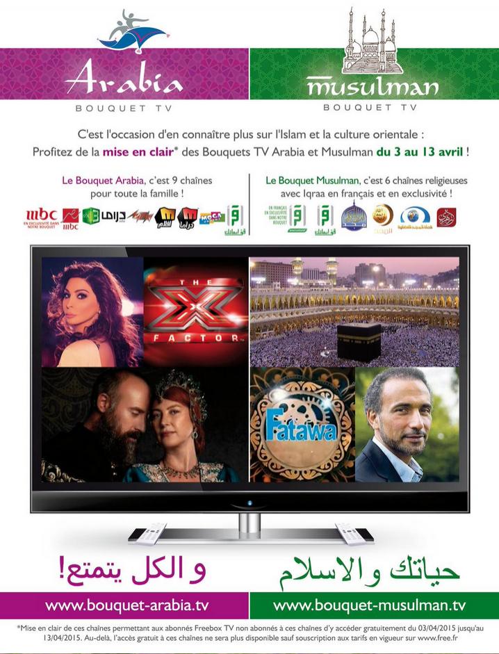 [Abonnés Free] Les bouquets « Arabia » et « Musulman » Offert en Avril (15 chaines au total) -