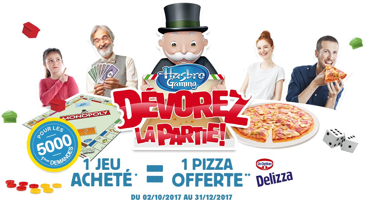 1 jeu de société Hasbro acheté parmi une sélection = 1 pizza Dr.Oetker Delizza offerte - Ex : puissance 4