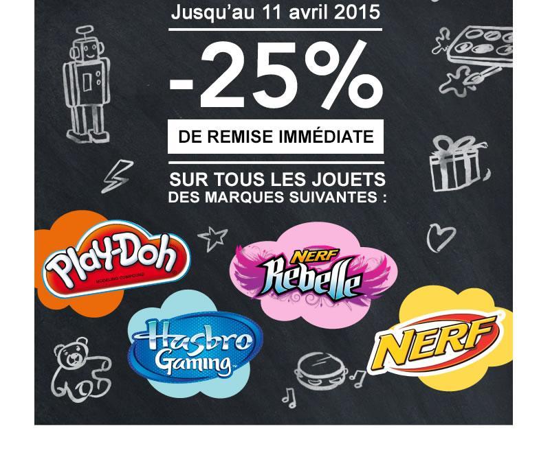 25% de réduction sur tous les jouets Play-Doh, Hasbro Gaming, Nerf, Nerf Rebelle