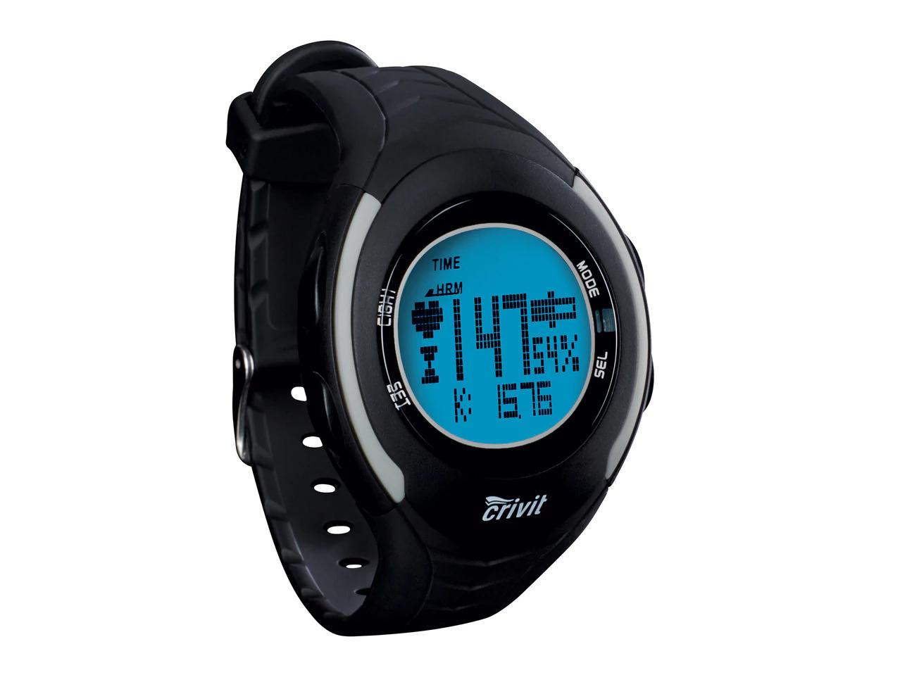 Montre cardiofréquencemètre Crivit (existe en 3 couleurs : noir, bleu, blanc) + sangle pectorale + support vélo