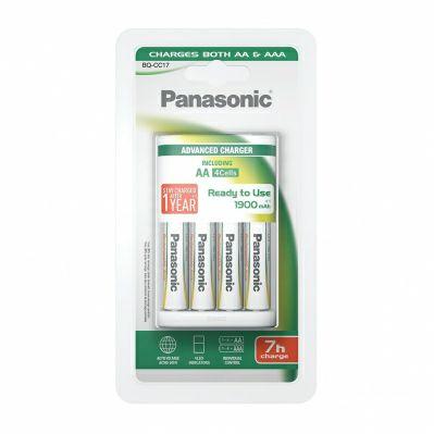 Lot de 4 piles rechargeables Panasonic (1900 mAh) + chargeur BQ-CC17