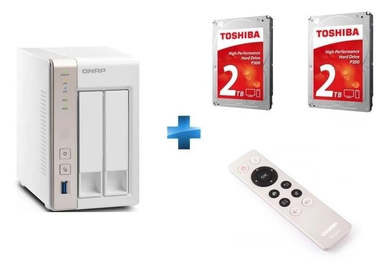 "Serveur NAS Qnap TS-251 + 2 disques durs 3.5"" Toshiba P300 (2 x 2 To)"