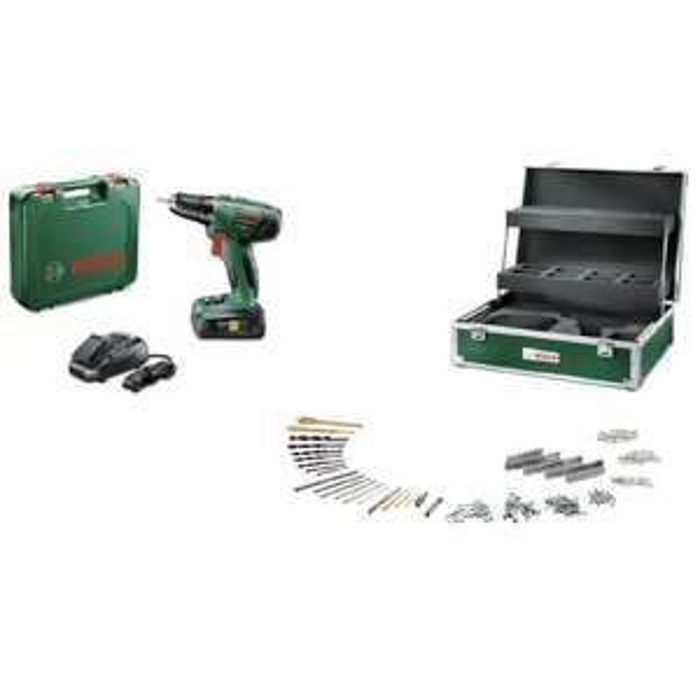 Perceuse à percussion Bosch PSB 1800 Li 2 batteries + coffret de rangement 241 accessoires