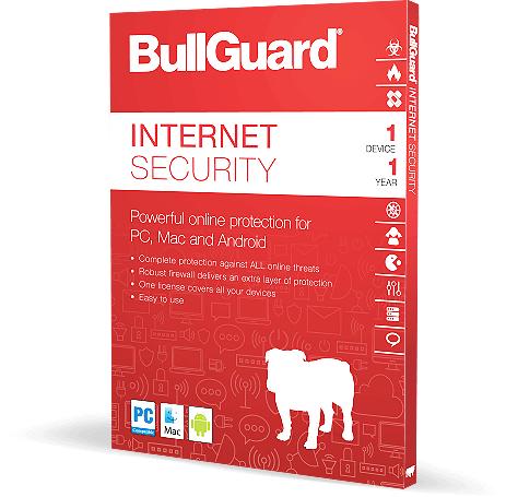 Logiciel antivirus BullGuard internet security 2018 gratuit sur PC - pendant 1 an (dématérialisé)