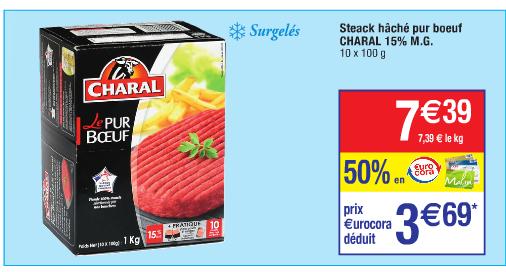 Lot de 10 Steaks hachés pur boeuf charal x10 (50% sur la carte + 1.50€ BDR + 1.50€ via C-Wallet) + deal PS4 500go (voir deal)