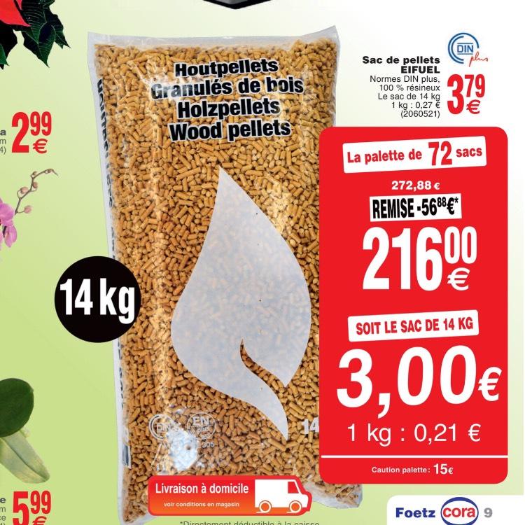 Palette de 72 sacs de 14kg granule de bois - (Frontaliers Luxembourgeois)