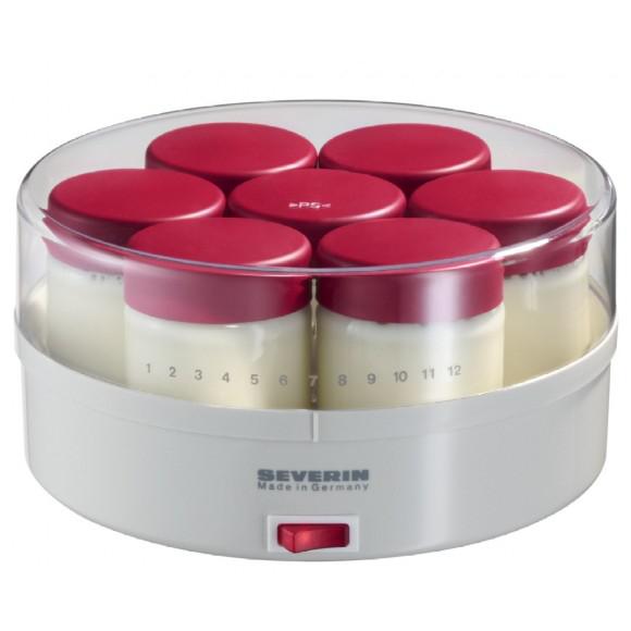 Yaourtière Severin 3519-760 Blanc et rouge 14 pots fournis + Livret