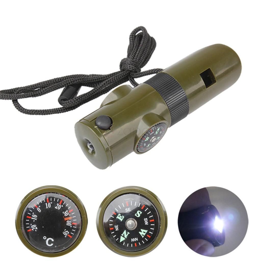 Outil de survie 7 en 1 -Sifflet, boussole, thermomètre,Lampe de poche LED