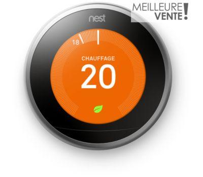 Thermostat connecté Nest Learning 3ème génération + Google Home Mini