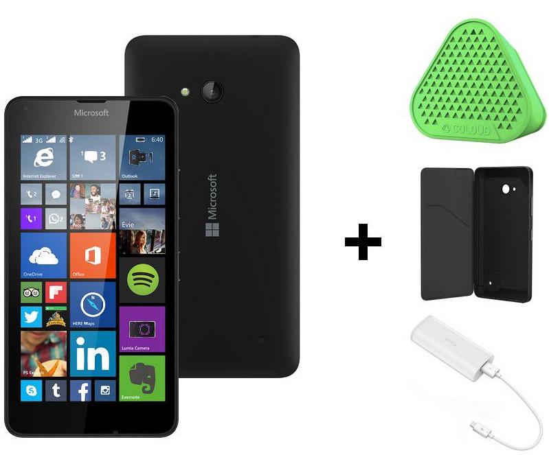 Précommande : Smartphone Microsoft Lumia 640 Noir + Accessoires (Etui, Enceinte Coloud MD-1C, Batterie Coloud DC-21 6000mAh) + Office 365 offert pendant 1 an