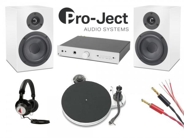 Pack chaîne Hifi Vinyle Pro-Ject (Ampli + Platine RPM 1.3 Génie + Enceintes bibliothèques Speaker Box 5 + Câbles + Casque)