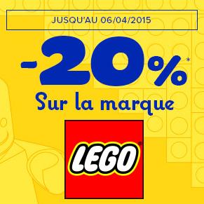 20% de réduction  sur tous les jouets LEGO