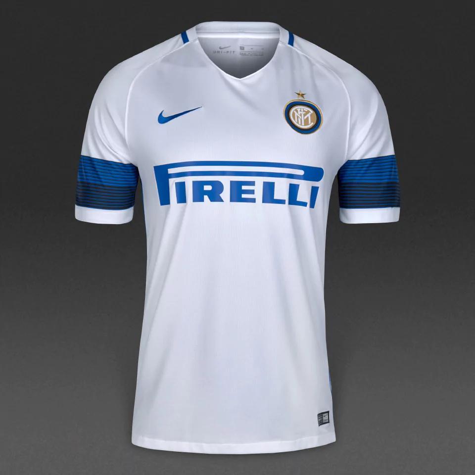 Sélection de maillots de football: Inter Extérieur Blanc 16/17 (tailles M à XXL) - Nike Store Villeneuve d'Ascq (59)